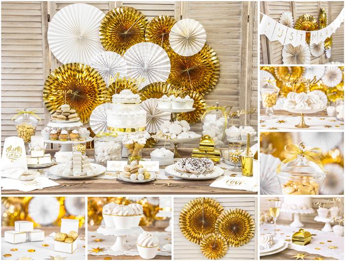 Kolekcja Gold Wedding Partydecopl Dekoracje Weselne I ślubne